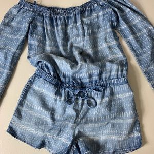 Bella Dahl Tencil Chambray Denim Shorts Romper